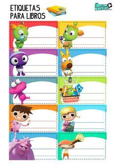 Imprimible etiquetas para libros de personajes de dibujos animados