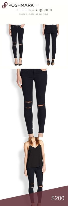 J Brand '822'  Cropped Skinny Jeans in Blue Mercy J Brand '822' Cropped Skinny Jeans in Blue Mercy. Destruction is inherent to the design.  Punk-chic tears and raw-edged cuffs are kept polished by the second-skin fit of these sleek, dark-blue jeans.  92.5% Cotton 5% Polyester 2.5% Elastane J Brand Jeans Skinny
