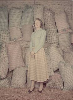 Farmers Daughters Model Feed Bag Dresses Photographer: Wallace Kirkland