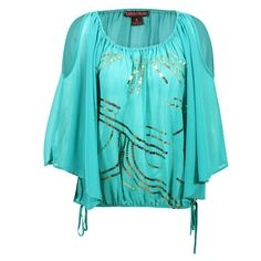 Rock & Roll Cowgirl Shoulder Cutout Sequin Blouse