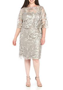 eac0da829e083 BRIANNA Plus Size Embroidery Sequin Popover Dress