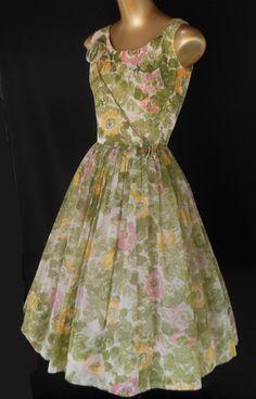 Vintage 50s Party Dress - Floral Print Chiffon Rosette Trim - Wedding from decomodernvintage on Ruby Lane