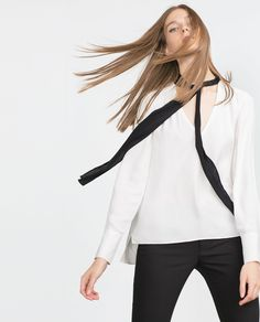 Image 4 of SHIRT WITH CONTRASTING BOW from Zara