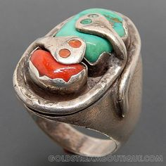 NATIVE AMERICAN EFFIE CALAVAZA ZUNI PUEBLO STERLING SILVER TURQUOISE & CORAL SNAKE RING - SIZE 10 – Gold Stream Boutique