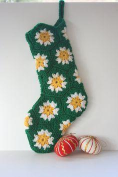 Crocheted motif Christmas Stocking