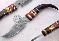 "13.00"" Custom Made Beautiful Damascus steel skinning hunting Knife (881-2)…"