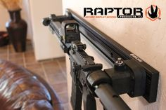 Raptor Long Gun System™ Pre-configured Kit secured in the living room, AR Displayed and ready for in-home Self Defense.