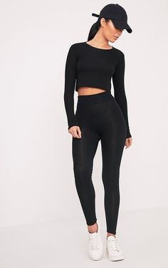 Black High Waisted Jersey Leggings Leggings are a total wardrobe staple - featuring super soft, ...