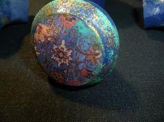 Lot of 2 Turquoise~Black ~Gold HQT Handmade Home Designs Art Glass ...