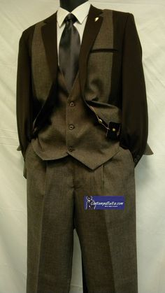 1920s Style Suit by Falcone Mens Brown 4 Piece  3932-108