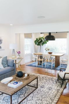 Living & Dining Room Makeover by Studio McGee- I just want to re-create this space. Love the window treatments and the grey/blue. I could reuse my coffee table. Living Room Kitchen, Living Room Decor, Kitchen Decor, Home Interior, Interior Design, Living Room Remodel, Deco Design, Hall Design, Room Rugs