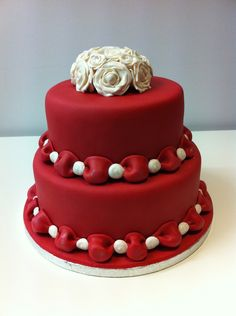 Fondant ruffles, hand rolled sugar pearls, Royal icing cage and gumpaste peony. Happy Anniversary Cakes, Wedding Anniversary Cakes, Ruby Anniversary, Wedding Cakes, Pretty Cakes, Beautiful Cakes, Amazing Cakes, Fondant Cakes, Cupcake Cakes