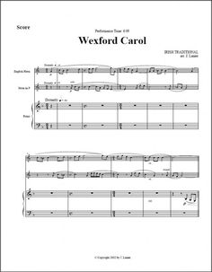 Wexford Carol Trio for Eng hrn, Horn, Pno (Alternate parts available) French Horn, Irish Traditions, Horns, Piano, Sheet Music, Christmas, Yule, Xmas, Horn
