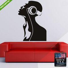 Wall Decal Decal Sticker Girl Flowers Pleasure Headphones Bedroom  z174