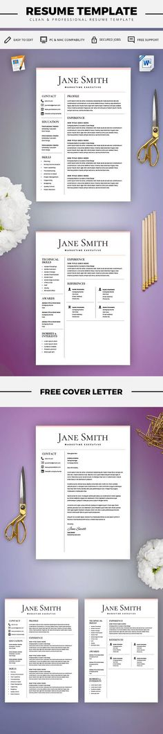 Resume Template - Resume Builder - CV Template - Free Cover Letter - microsoft word resume template for mac