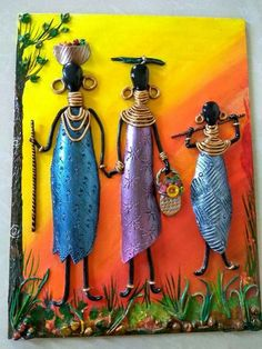 African art with mould it Clay Wall Art, Mural Wall Art, Mural Painting, Clay Art Projects, Clay Crafts, Art Pierre, Afrique Art, African Art Paintings, Art Diy
