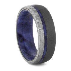 Popular  mm Meteorite with Blue Box Elder Sleeve in Sandblasted Titanium BBEM Meteorite Wedding BandMeteorite