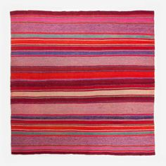 """Peruvian wool rug, vegetable dy  Handwoven and vegetable dyed by artisans of Cuzco, Peru. These rugs are bold, vibrantly colored and timeless. They are made from 100% virgin wool, making them thick and durable, as well as very warm if used as a blanket. Each rug features variations in pattern and size, which is part of the charm and what makes them unique.  Made by artisans from Cuzco  Material: Virgin wool Dimensions: 59""""h x 58""""w Care: Dry clean Product Origin: Peru"""