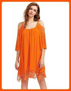 Milumia Women's Summer Cold Shoulder Crochet Lace Sleeve Loose Beach Dress Orange M - All about women (*Amazon Partner-Link)