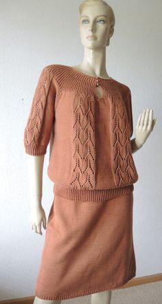 Pullover & Pullunder - Zweiteiliges handgestricktes Kleid, rostbraun - ein Designerstück von Na-nett-e bei DaWanda