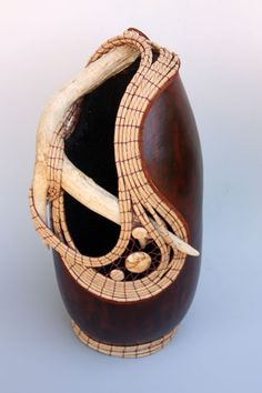 """""""Tres Lunas"""" - Antler gourd with coiling and knotless netting with Jasper beads from Susan Ashley - TxWeaver.com"""