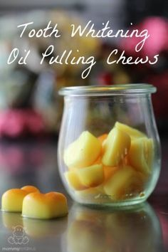 Coconut Oil Pulling Chews With Teeth Whitening Turmeric -   I know, they're the color of Cheetos and you're probably wondering if you're being punked right now, but I'm totally serious.   These coconut oil pulling chews support oral health and include turmeric, which whitens teeth naturally.