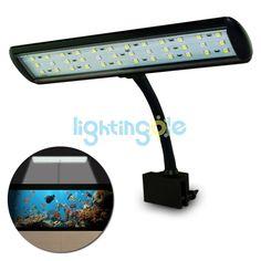 7W Aquarium 3 Mode Flexible Tank Lamp 36 LED White & Blue Light AC85-260V + Power Adapter, Touchable Inductive Switch White - LED Lights - Lightingole.com