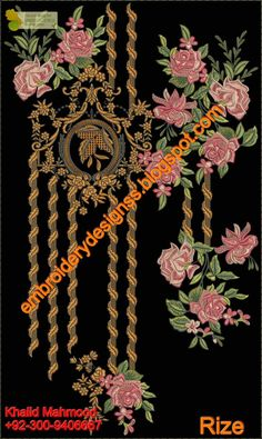 Latest Embroidery Designs For Sale, If U Want Embroidery Designs Contact (Khalid Mahmood, Designs Embroidery Designs For Sale, Embroidery Suits Design, Gold Embroidery, Embroidery Patches, Embroidery Patterns, Doll Making Tutorials, Making Ideas, Textile Prints, Textile Design