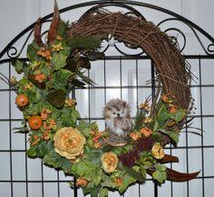Owl Wreath Summer wreath Fall Wreath 18 by TheBloomingWreath, $54.99