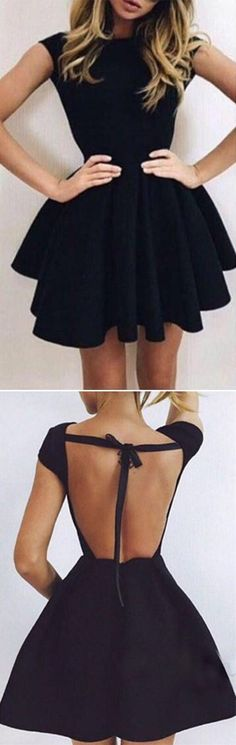 Homecoming Dress,Prom Dress Short,Sexy Black Open Back Homecoming Dress,Short Prom Dresses,SH257