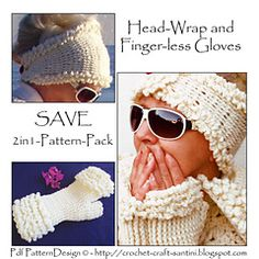 Ravelry: E-Book 2in1-Pattern for Winter White Head-Wrap, and Winter white Fur-Gloves - patterns