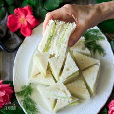 Easy Cucumber Sandwiches an dainty appetizer to serve at an English tea party Easter brunch or bridal shower Thinly sliced cucumbers cream cheese and fresh dill fill thes. Cucumber Tea Sandwiches, Tea Party Sandwiches, Finger Sandwiches, Tea Sandwich Recipes, Finger Food Appetizers, Appetizers For Party, Shower Appetizers, Appetizer Ideas, Easter Appetizers