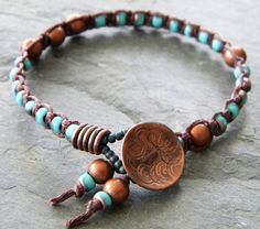 Teal Knotted Bracelet Copper Button Macrame by dreambelledesign, $28.00