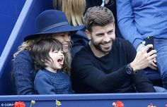 Coordinating cuties: Shakira with her son, Milan and partnerGerard Piqué took a family se...