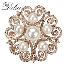 Cheap crystal rose brooch, Buy Quality rhinestone brooch directly from China flower brooch Suppliers: Crystal roses brooch high - grade pearl Crystal creative flowers Brooch pin rhinestone brooch pin jewelry 48*48mm