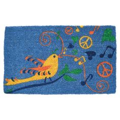 Welcome guests to your lovely abode with this charming hand-woven coconut fiber doormat, showcasing an eye-catching bird motif for a touch of whimsical appea...