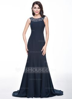 Trumpet/Mermaid Scoop Neck Sweep Train Chiffon Evening Dress With Lace Beading Sequins (017056498)