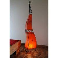 Orientalische Lampe aus Marokko Metall und Leder rot 150cm