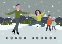 Ice Skating Family Photo New Year Card - Personalized & Printable Digital File Family Christmas Pictures, Holiday Photos, Family Photos, Christmas Ideas, Family Holiday, Holiday Ideas, Funny Christmas Cards, Christmas Photo Cards, Holiday Cards