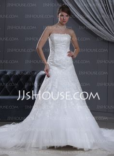 Wedding Dresses - $236.99 - A-Line/Princess Sweetheart Chapel Train Satin Tulle Wedding Dress With Lace Beadwork (002000165) http://jjshouse.com/A-Line-Princess-Sweetheart-Chapel-Train-Satin-Tulle-Wedding-Dress-With-Lace-Beadwork-002000165-g165