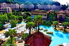 Centara Grand Phuket Resort, Karon Beach, Phuket, Thailand; an overview of the resort with huge pools in the middle.