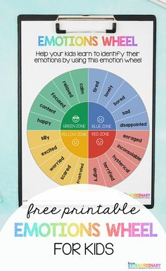 Printable Emotion Wheel for Kids - Use this emotion wheel to help your kids learn to identify their emotions. Based on the Zones of Regulation. Feelings Wheel, Feelings Chart, Feelings Words, Zones Of Regulation, Emotional Regulation, Emotional Child, Social Emotional Learning, Coping Skills, Life Skills