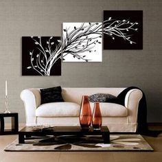 Abstract the black and white flowers decorative painting plum is the wind canvas modern art of three pieces no frame | Beautiful art work for the modern home! Xo