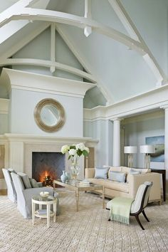 Beautiful Coastal Living Room in Creamy Natural Colors With Muted Soft Aqua Accents !