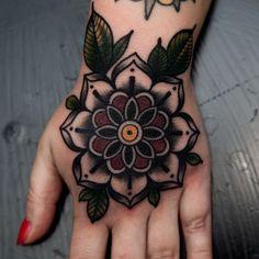 2017 trend Body - Tattoo's - flower mandala neo traditional blackwork elisabetha elisabethattatoo hand flower...