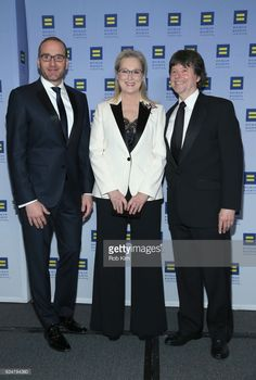 HRC President Chad Griffin, honoree Meryl Streep and filmmaker Ken Burns attend the 2017 Human Rights Campaign Greater New York Gala at Waldorf Astoria Hotel on February 11, 2017 in New York City.