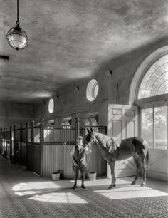 Horse stable vintage photo