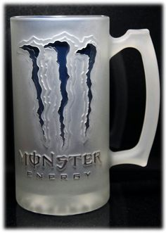 Monster energy drink sandcarved glass mug. $45.00 all are hand made.