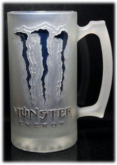 Monster energy drink sandcarved glass mug