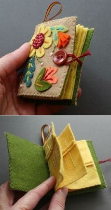 Awesome needle-book Related posts:Make DIY Trinket Dishes with Tropical LeavesTRAVEL BOOK 2 - CROATIA. - closing the seam - side seam - sewing together Kids Crafts, Felt Crafts, Fabric Crafts, Sewing Crafts, Diy And Crafts, Sewing Projects, Wooden Crafts, Diy Projects, Cork Crafts